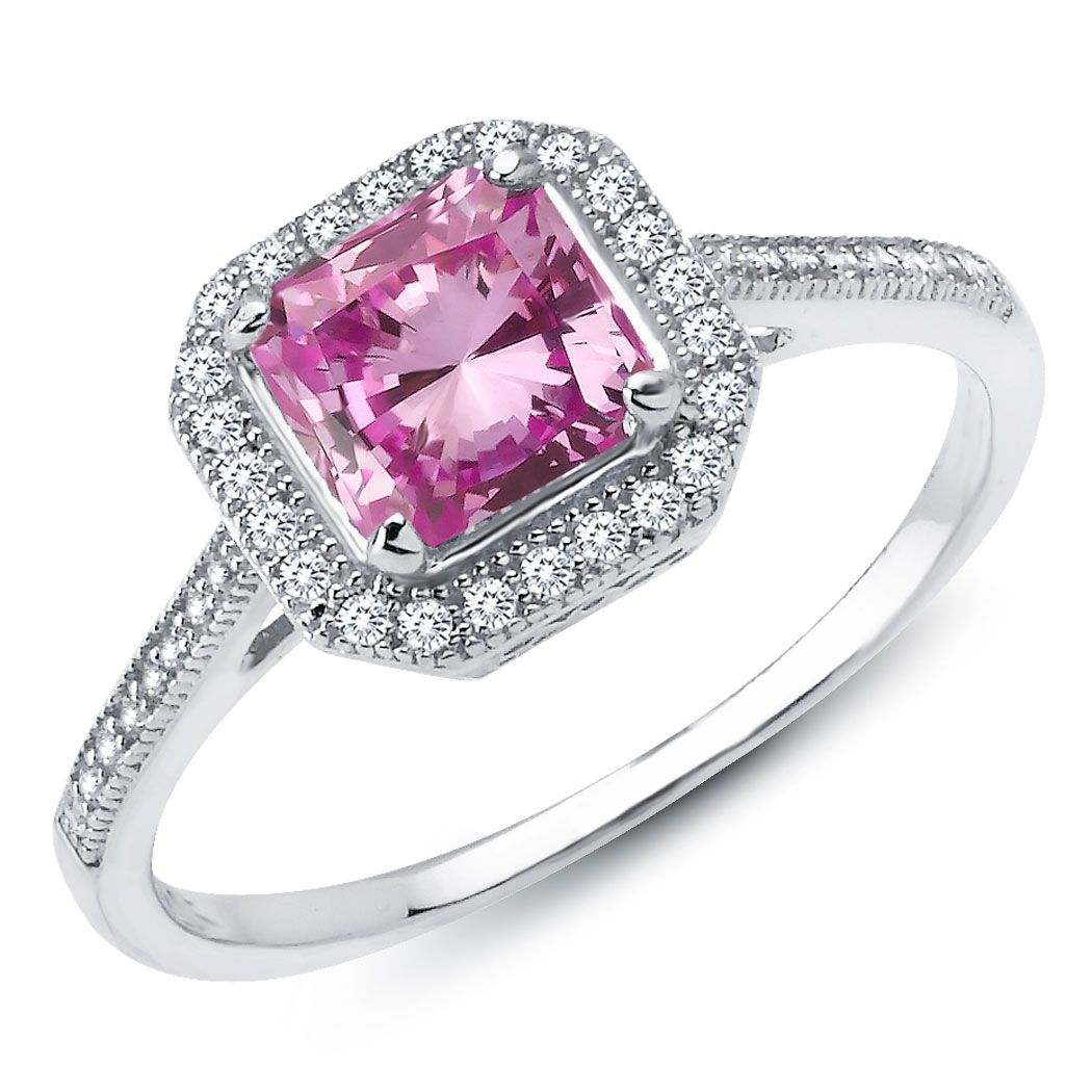 Diamond Lafonn Sterling Silver Platinum Bonded Princess Cut Lab Created Pink Sapphire Solitaire Ring