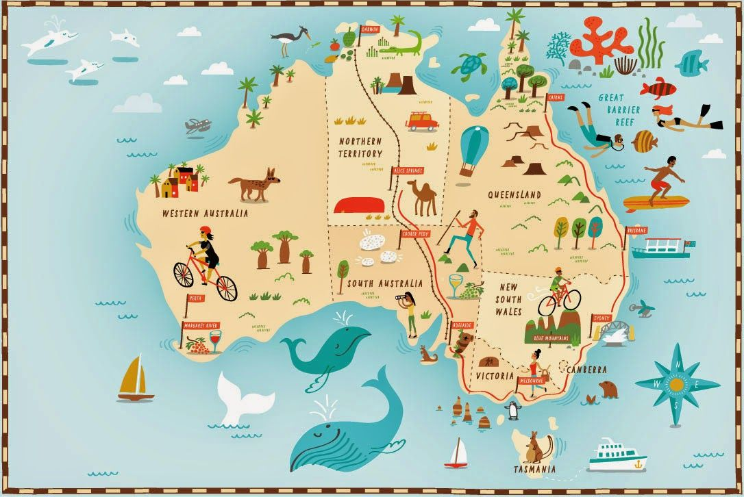 Fun Australia map by Nate Padavick #map #australia | maps in 2019 ...