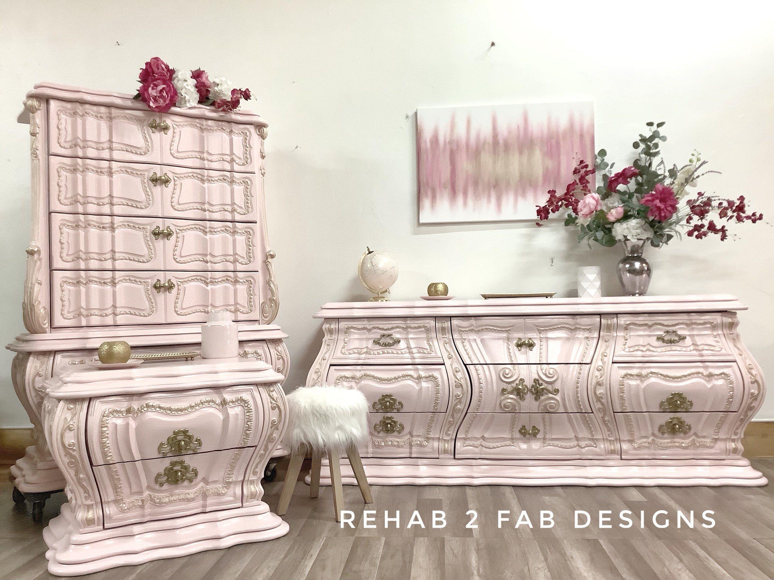Hollywood Regency Vintage Painted Bedroom Suit Glam Bedroom Set