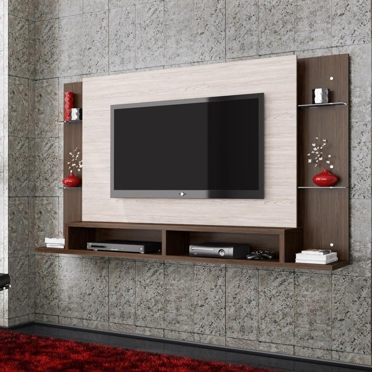 Painel para Tv com Bancada Malbec Belaflex Champagne/Roble | muebles ...