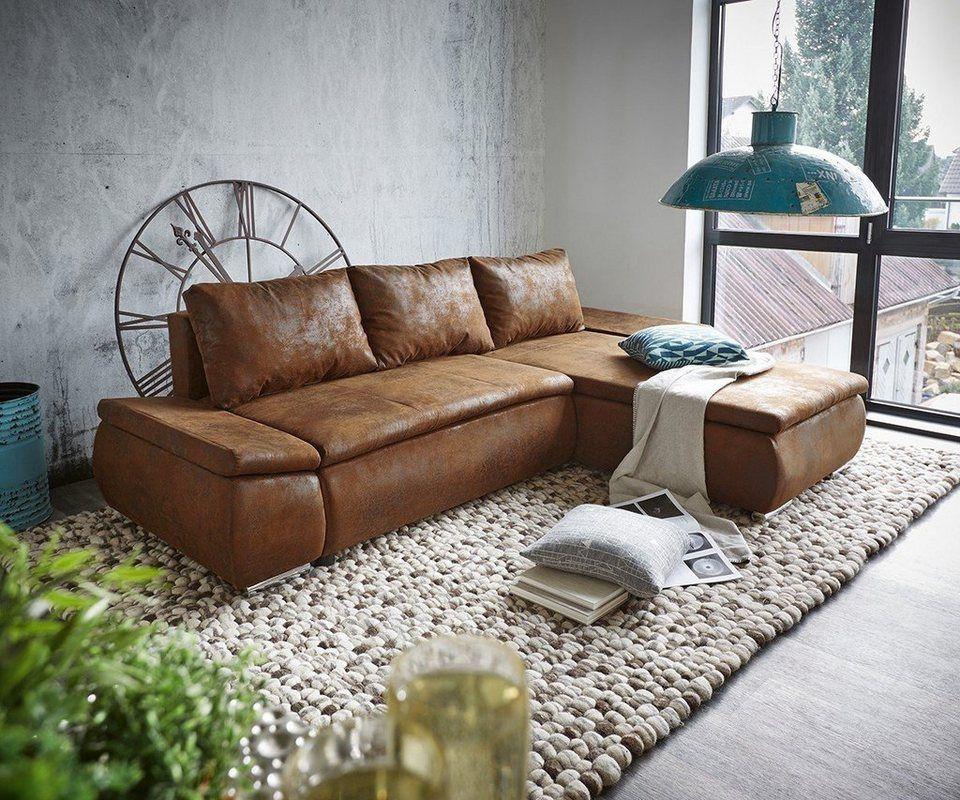 DELIFE Couch Clovis Schwarz mit Hocker Wohnlandschaft Ottomane - teppich wohnzimmer braun