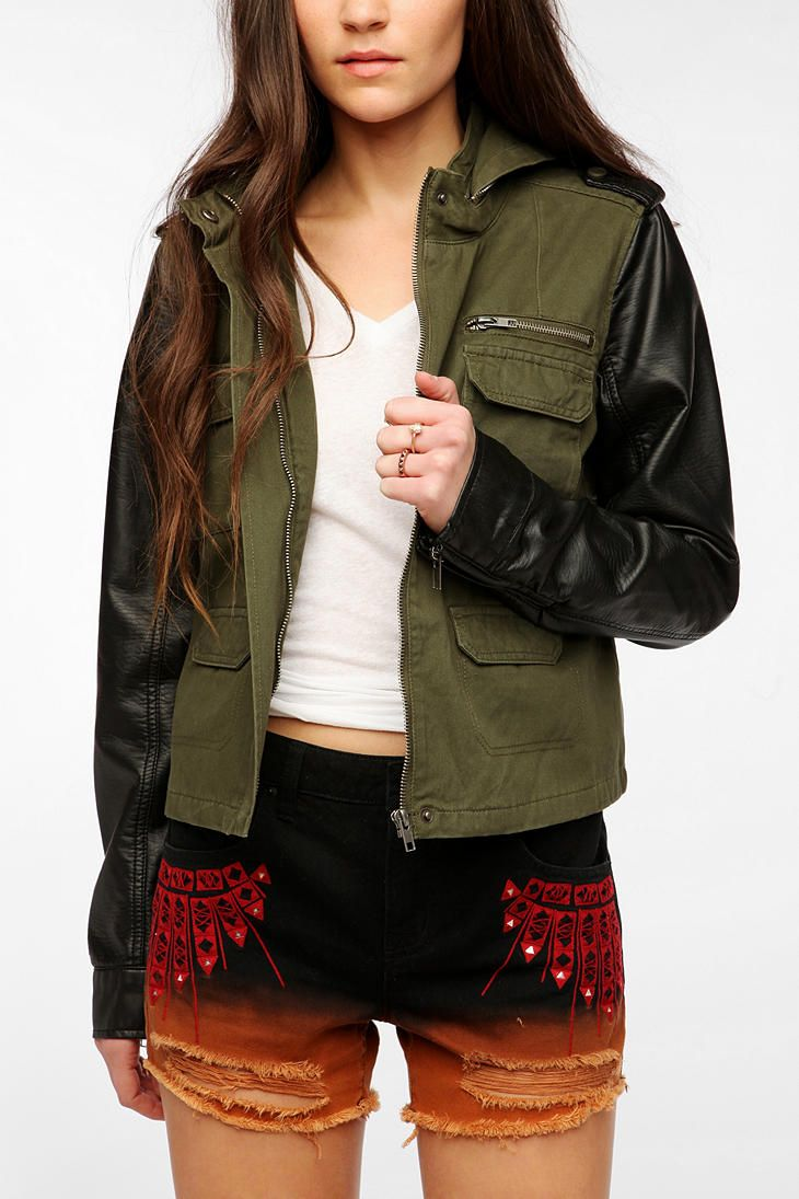 Leather jacket urban outfitters - Staring At Stars Vegan Leather Sleeve Surplus Jacket