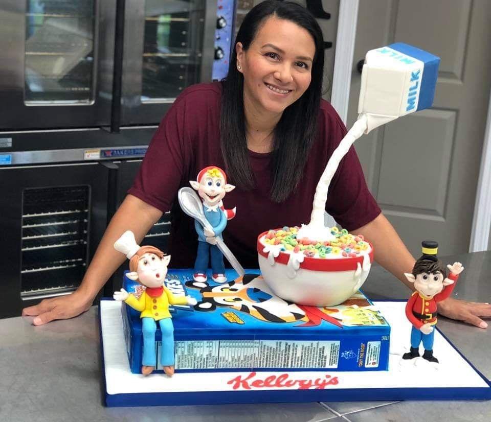 Kelloggs cereal box cake baker monica contreras vinson