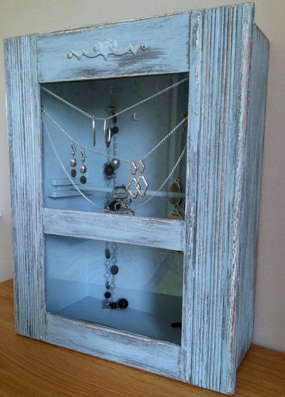 Organiseur rangement vitrine à bijoux ancien carillon détourné