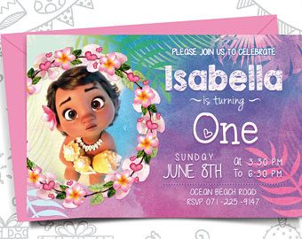 Image Result For Moana Invitations A One Year Old Birthday