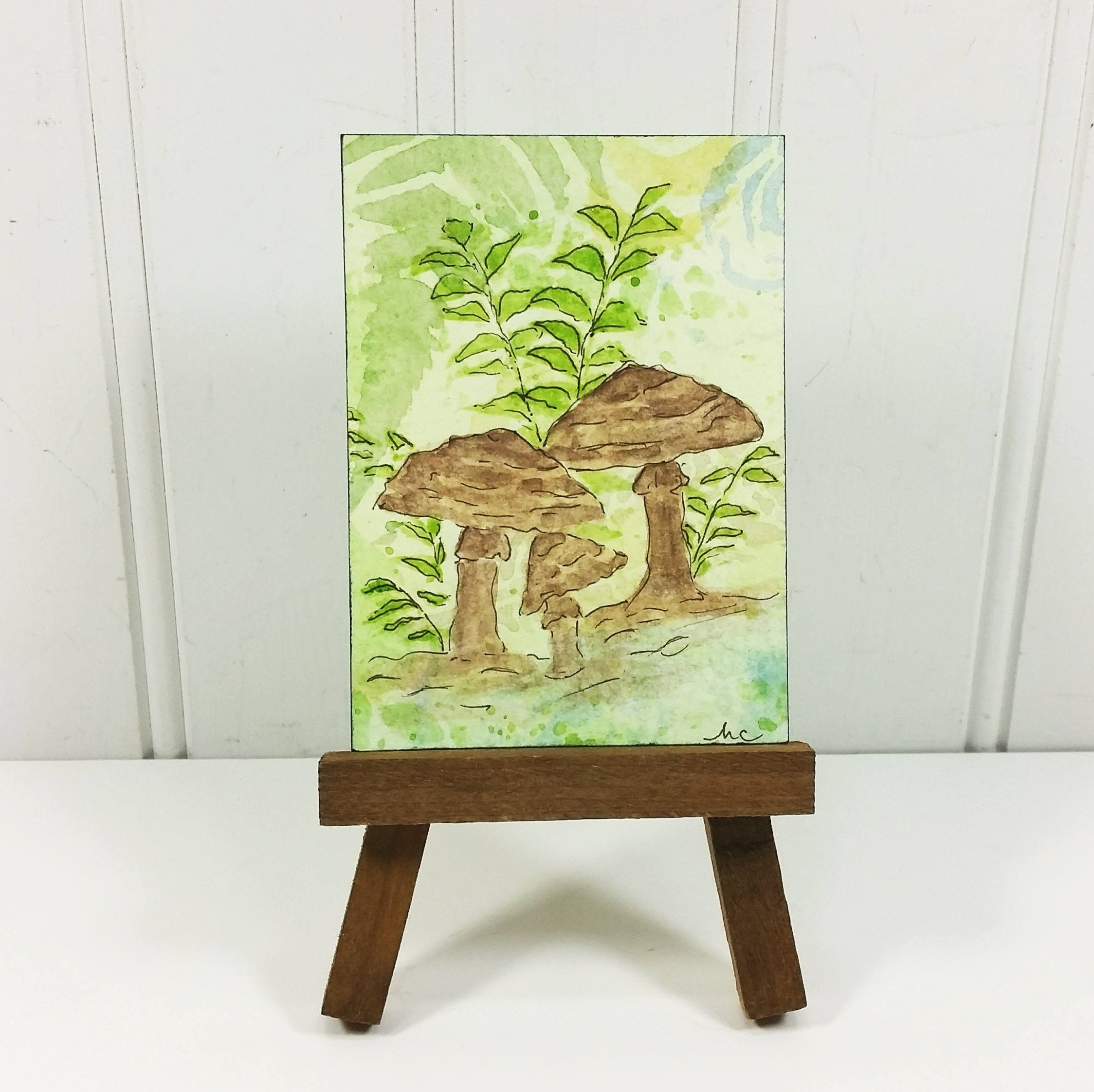 Woodland Mushrooms Aceo Whimsical Brown Fungi Watercolor