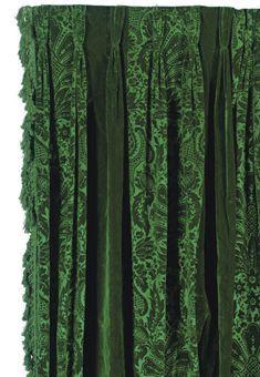 A Pair Of Emerald Green Velvet Curtain Panels Velvet Curtains