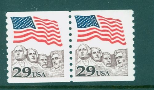 2523c-29c-Flag-over-Rushmore-Toledo-Brown-Color-Coil-Pair-Mint-NH