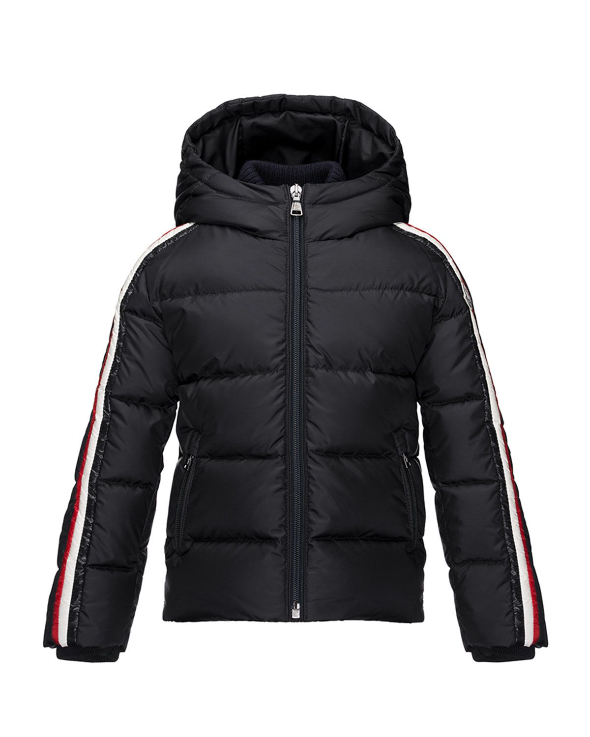 Moncler Odile Hooded Down Coat, Navy, Size 46 Boys