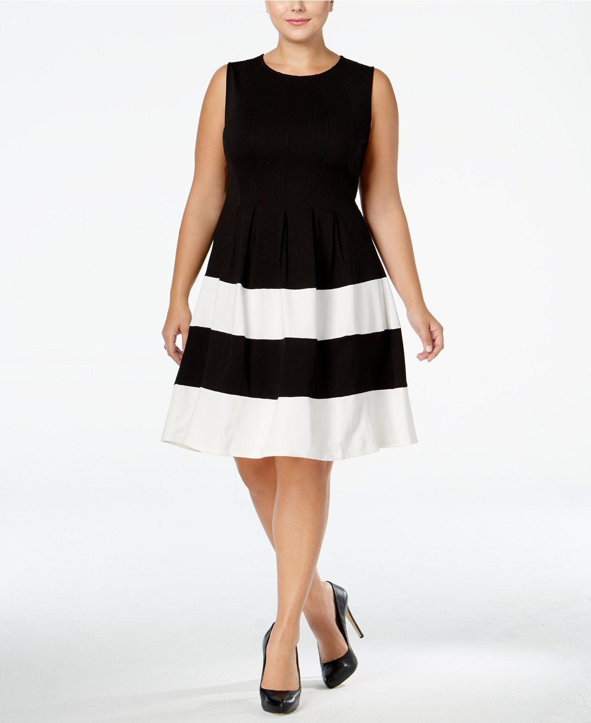Monteau Trendy Plus Size Fit Flare Dress Dresses Women Macy S Fit Flare Dress Plus Size Dresses Curvy Girl Fashion [ 1467 x 1200 Pixel ]