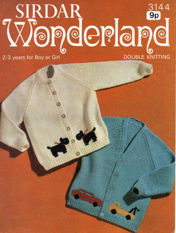Baby Toddler Cardigan Knitting Pattern Dog Motif Car Motif 23 Inch