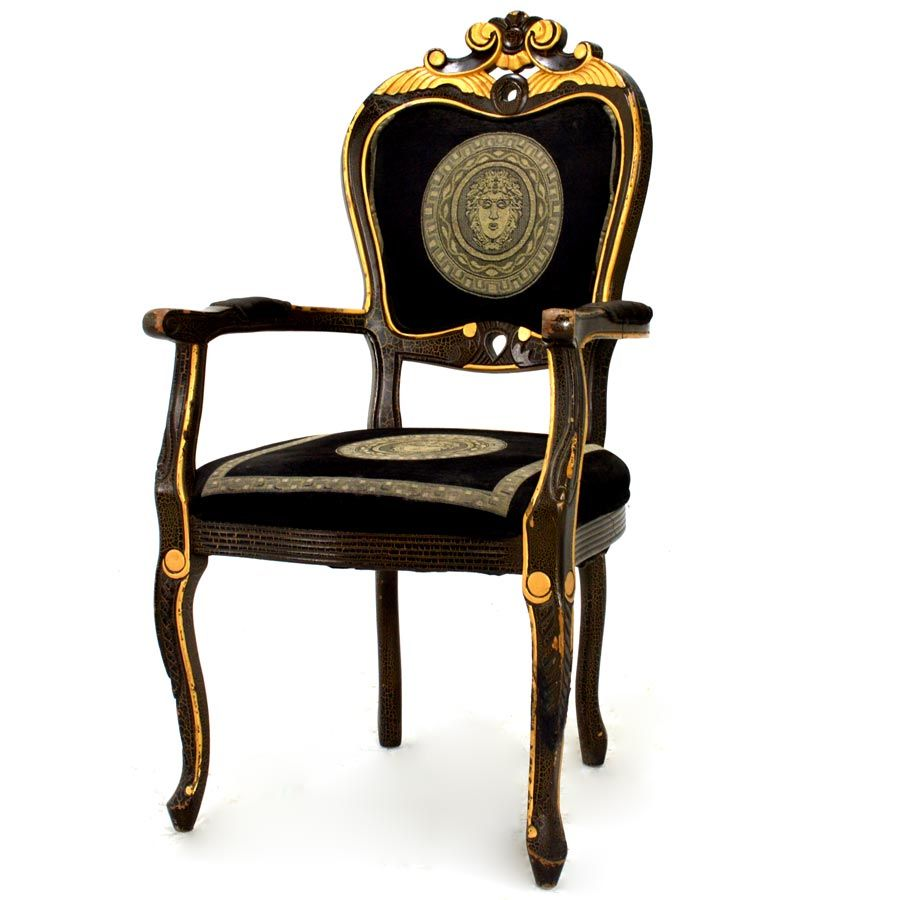 BEST Pair Black Lacquer /& Parcel Gilt REGENCY ARM CHAIRS With Rose Silk Damask