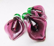 CALLA LILIE set of 3 dark pink artisan floral glass sculpted lampwork beads in Jewelry & Watches, Loose Beads, Lampwork | eBay