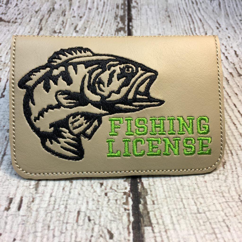Fishing License holder Digital embroidery, Sports design