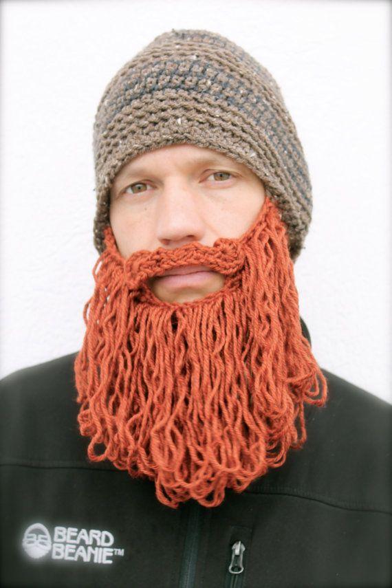 3ae8c6b4418 shaggy beard beanie brown tweed striped with red by taraduff