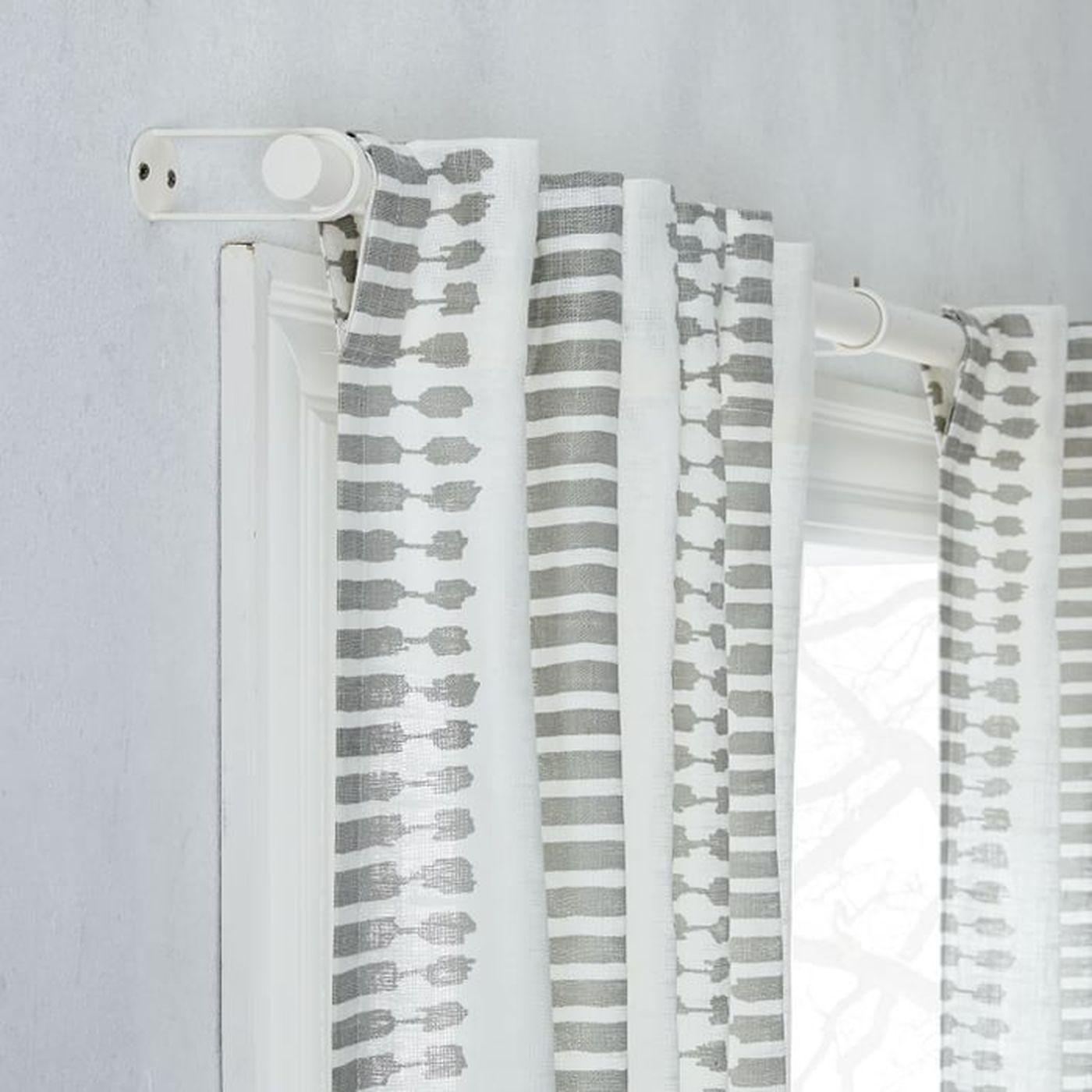 Striped Ikat Curtain Platinum 96 West Elm In 2020 Ikat Curtains Curtains Metal Curtain