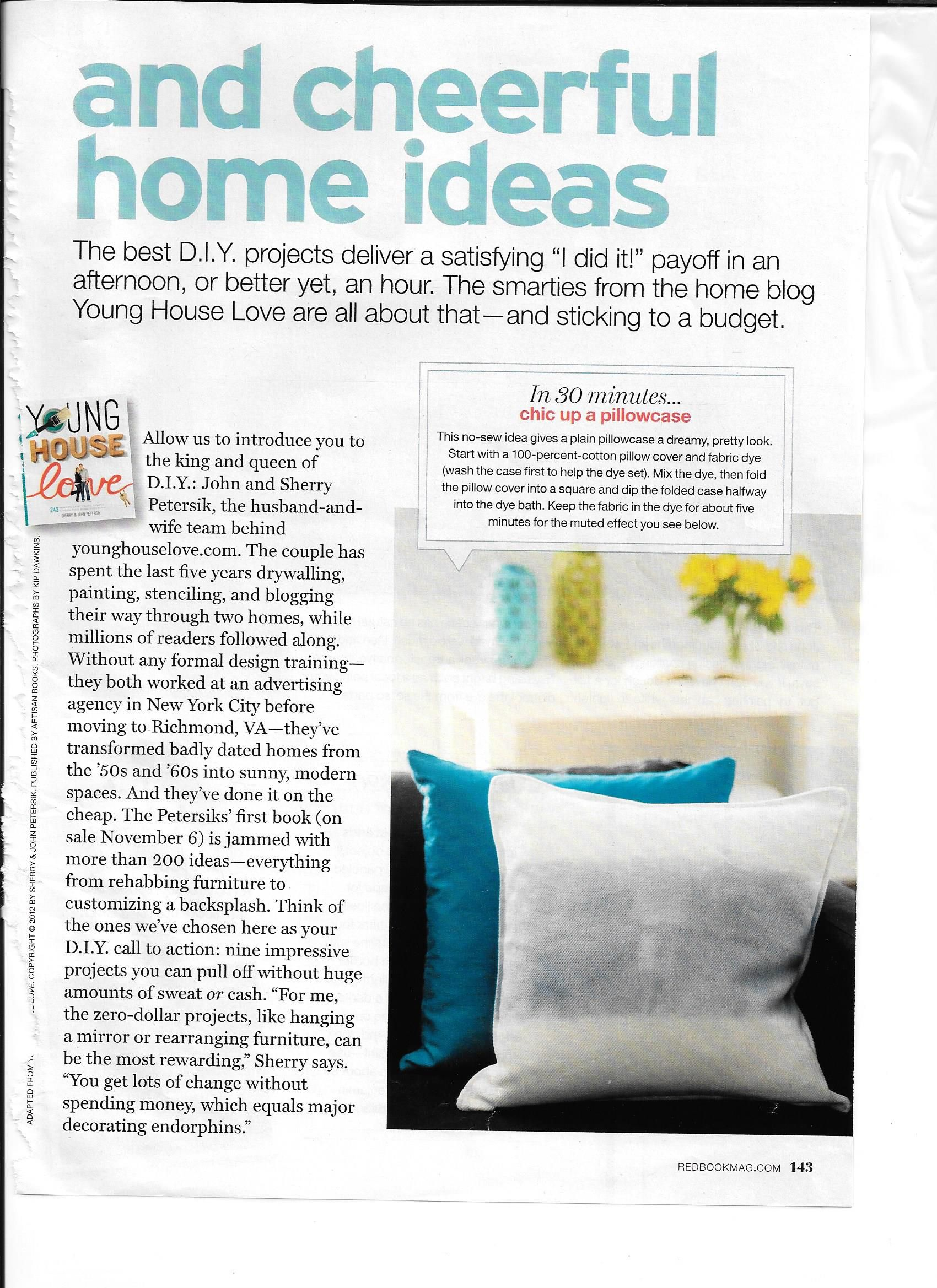 Young House Love Ideas From Their Book DIY/Home Decor. Article From Redbook  Magazine