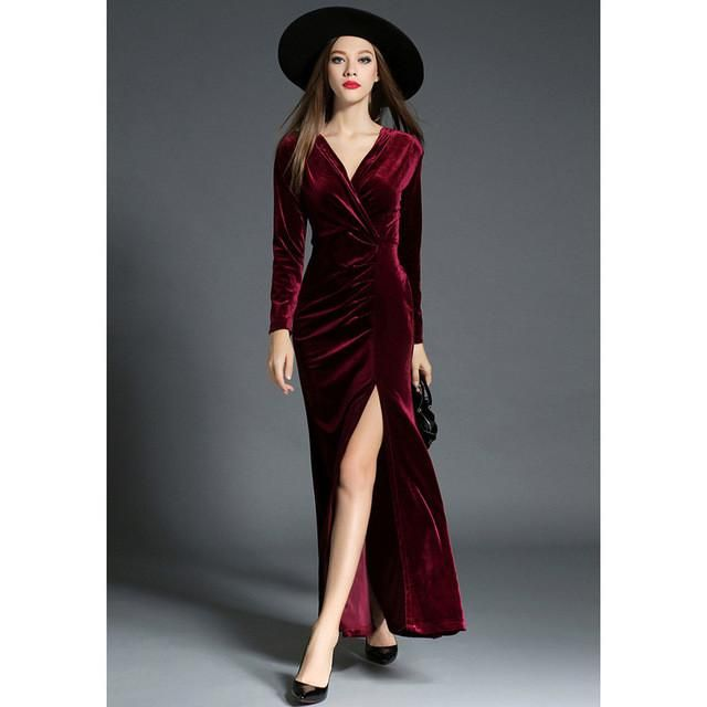 2dc1dd8a55fbb 2017 Autumn Winter Evening Party Dresses Red Velvet Dress Women Vintage Sexy  High Split Long Maxi Dresses Runway Vestido Longo
