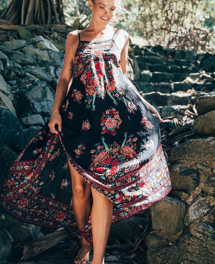 ed4a3833e1e Womens Summer Boho Chiffon Party Evening Beach Dresses Long Maxi Sundress  I200