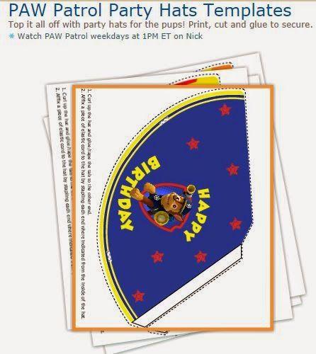 Paw Patrol Free Printable Party Hats Patrol Anniversaire Pat