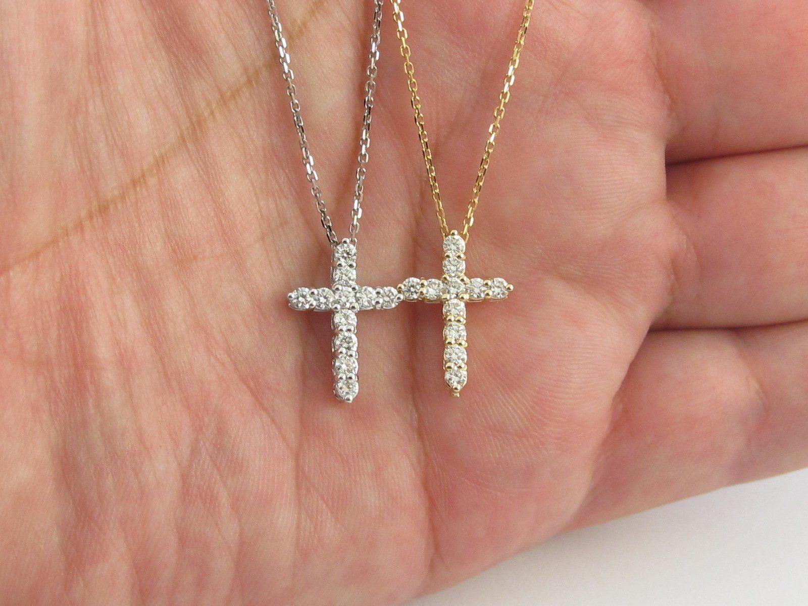 14k Gold Diamond Cross Necklace 16 18 20 Etsy Diamond Cross Necklaces Diamond Cross Pendants Diamond Cross Necklace Gold