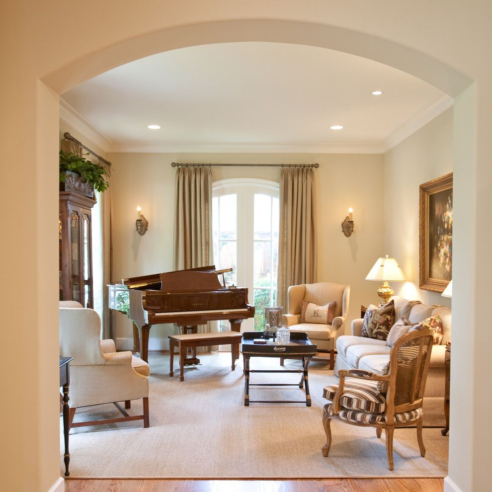 Black Laquered Baby Grand Piano Family Room Traditional With Sitting Arch Doorway Tan Sofa