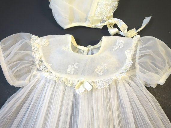 728840c99 Vintage White Organdy Baby Dress Matching Bonnet Embroidery Trim ...