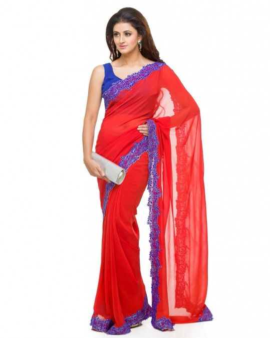 01c121ef24 Red Saree With Lace Border A beautiful flame Red coloured Georgette saree  with a Royal Blue lace border featuring machine thread work.