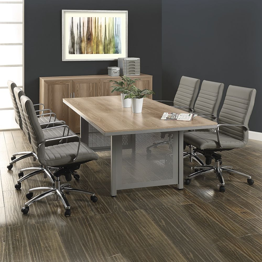 At Work Conference Table and Eight Harper Chair Set - 4 ft