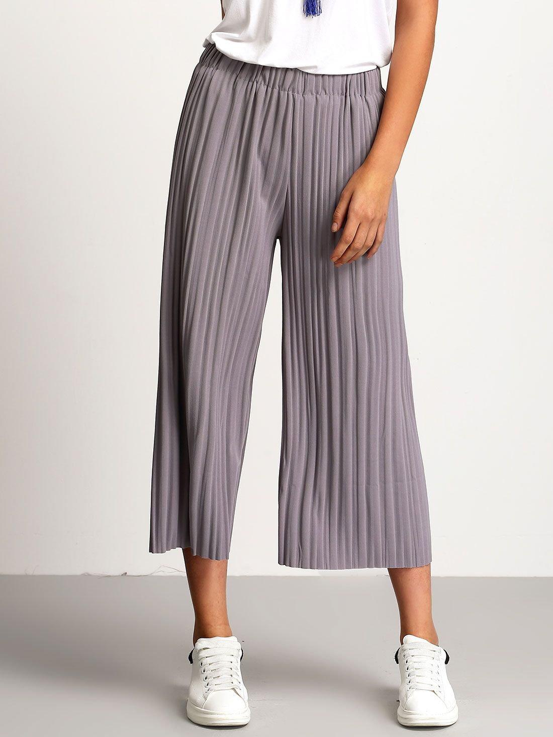 5bc192089a Shop Grey Elastic Waist Pleated Pant online. SheIn offers Grey Elastic Waist  Pleated Pant & more to fit your fashionable needs.