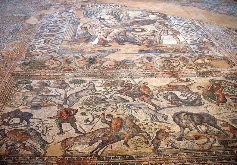 Mosaico En Honor A Baco Dios Del Vino Villa Romana De Santa Cruz