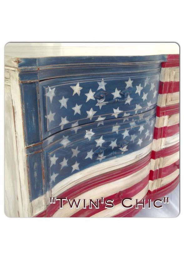 American Flag Dresser is part of American flag painting, Painted end tables, Dresser, Solid wood dresser, Flag, Metal lawn chairs - After being invited for the 4th of July town parade I knew exactly what it was going to be on my float  At first i had to find a right shape , wavy solid wood dresser      this maple triple dresser was perfect potential for my project   It was solid , wavy like a flag, and could already see the finished piece through it   AFTER I had to measure the total area of the drawers , calculate 13 stripes distance and paint it carefully using tape  It had to be 13 stripes, red and white…