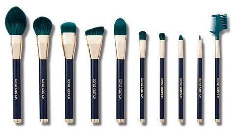 Trending On ShopStyle - Sonia Kashuk Limited Edition-Color Crazed 10pc Brush Set. These bold blue and turquoise brushes are the latest must-have brush set for fall· This set includes a domed powder brush, flat blusher brush, synthetic buffing brush, synthetic foundation brush, angled contour brush, large eye shadow brush, crease brush, synthetic pointed concealer/ lip brush, bent eye liner brush and lash & brow groomer.