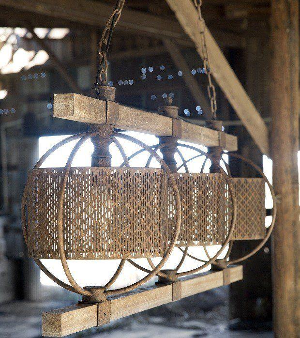 Rustic Rectangular Metal And Wood Chandelier Rustic Industrial