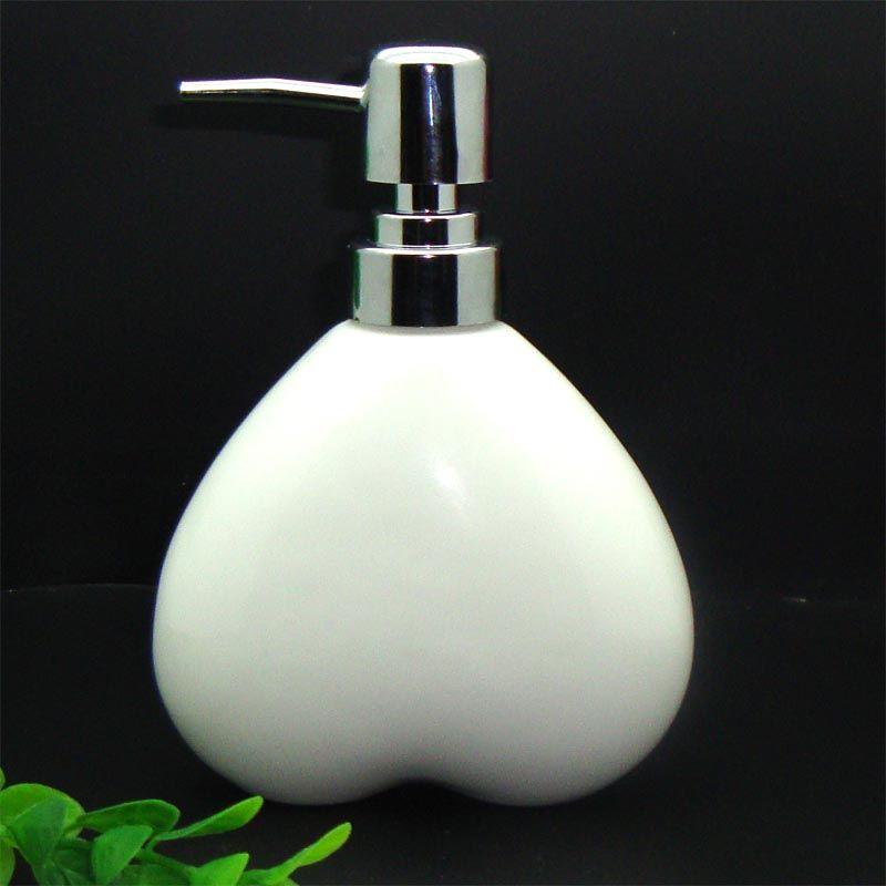 Heart Shape Ceramic 350ml Soap Dispenser For Shower Hand Sanitizer