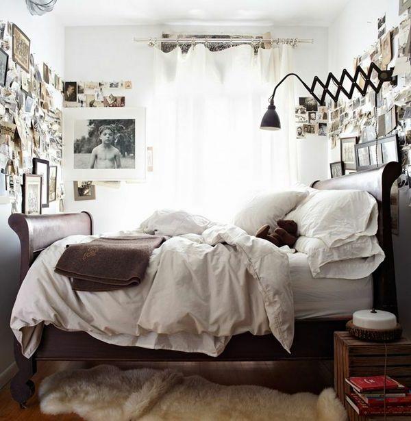 Mini schlafzimmer einrichten  kleines schlafzimmer einrichten fellteppich bilder luftige weiße ...