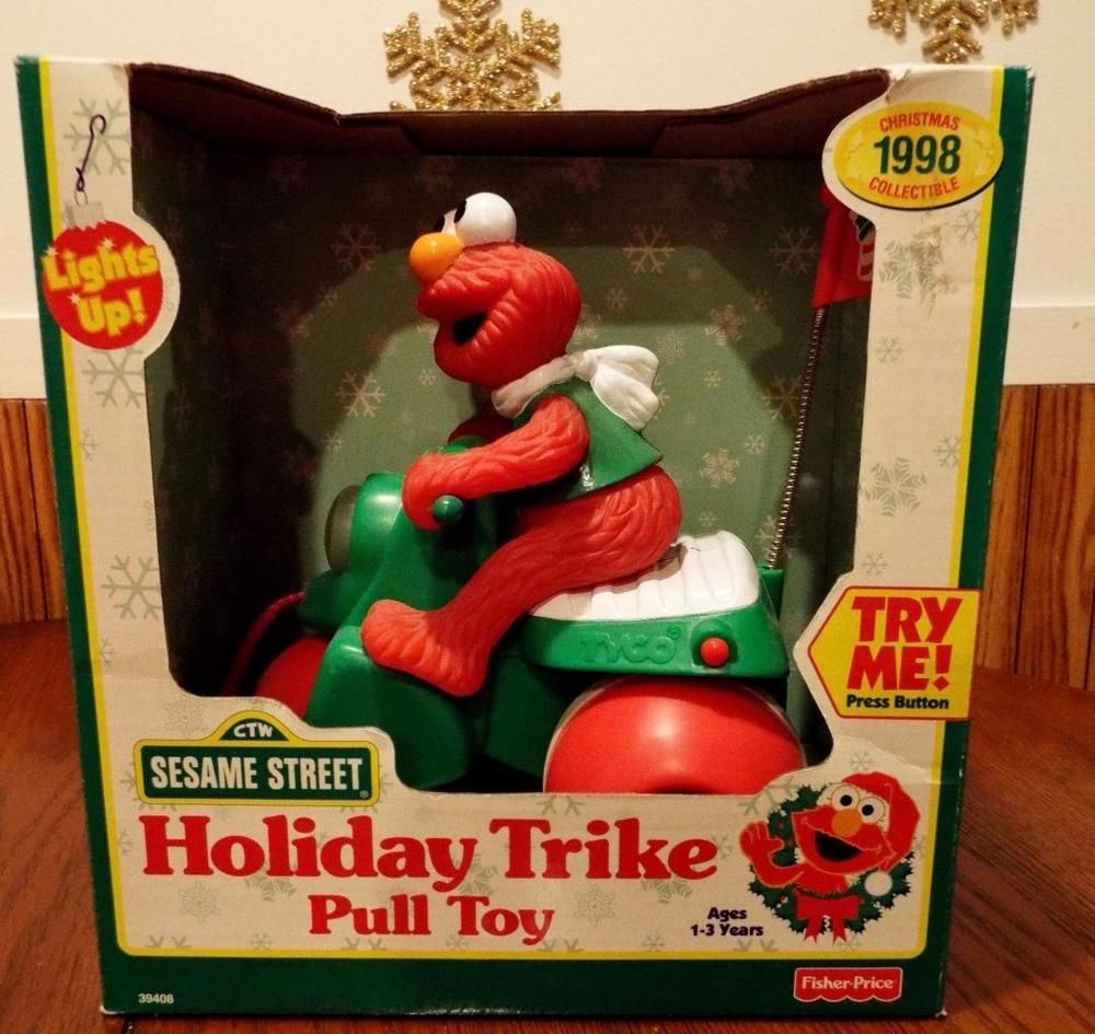 Tyco Brown Box: ELMO Holiday Trike Pull Toy TYCO TOYS 1998 NEW IN BOX RARE