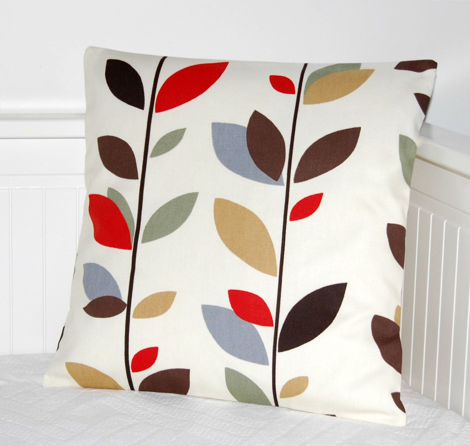 Pillow cover red grey blue brown leaves cushion cover x inch