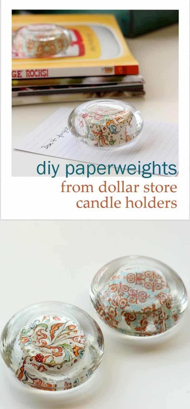 Diy paperweights from glass candle holders glass candle dollar