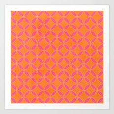 Rings - Pink And Orange Art Print
