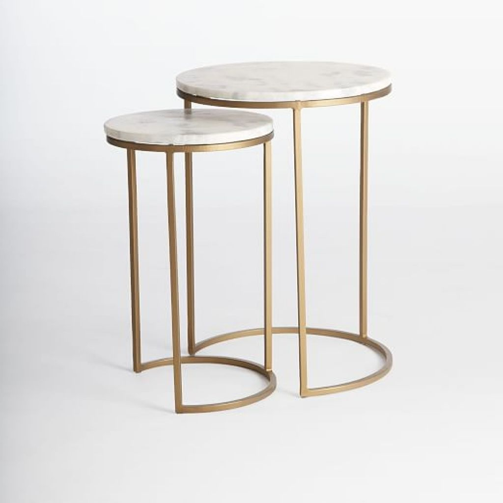 Round Nesting Side Tables Set Marbleantique Brass West Elm Round C ...