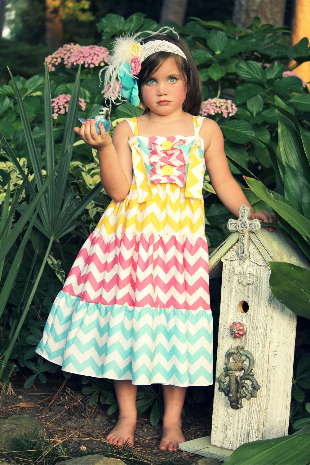 Chevron Print Tie Knot Twirl Dress In Pink Turquoise And