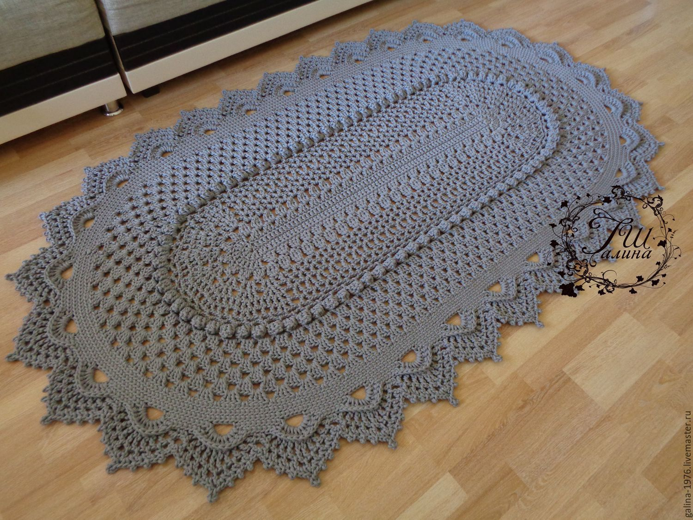 Вязание овального ковра шнуром схема
