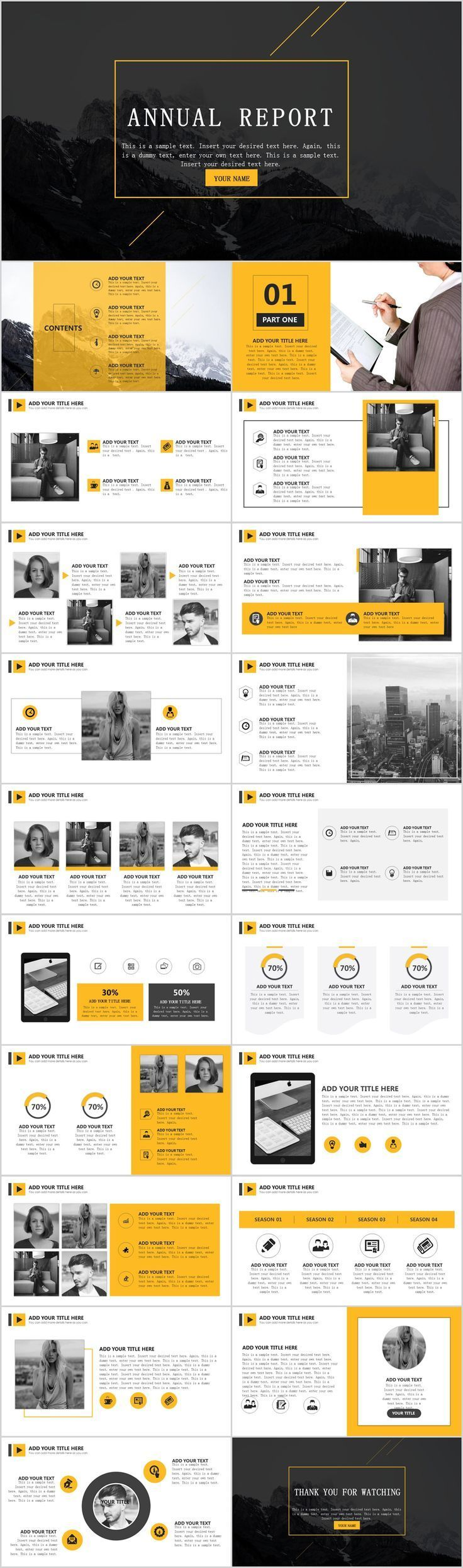 yellow simple report powerpoint template on behance powerpoint