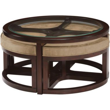 Cambria Glass Top Round Coffee Table With Upholstered Nesting Stools Found At Jcpenney Coffee Table With Stools Round Cocktail Tables Round Coffee Table