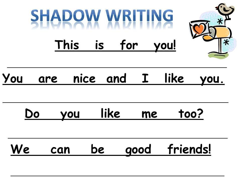 sheets to practice spacing in kindergarten | New Shadow Writing ...