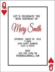 Personalized Playing Card Invitation Great For A Poker Or Casino Themed Birthday Party
