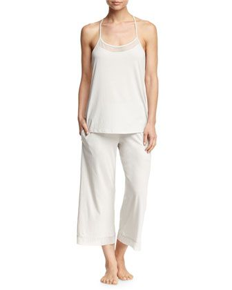 Cotton+Tulle+Lounge+Pant+&+Cami,+Gray+Mist+by+Skin+at+Neiman+Marcus.