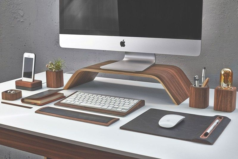 If There S One Thing A Creative Loves To Get Right It S Their Humble Desk The Work Zone They Call Home Really Cool Desk Accessories Desk Design Walnut Desks