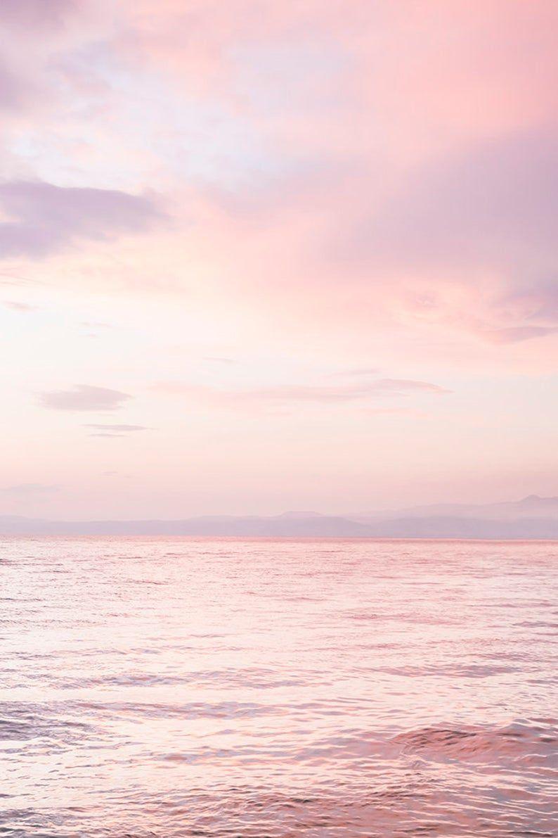 Ocean Sunset Print | Ocean Photography | Pink Clouds | Sunset Wall Art | Blush Pink Beach | Pastel Ocean Print | Horizon Print - PRINTABLE